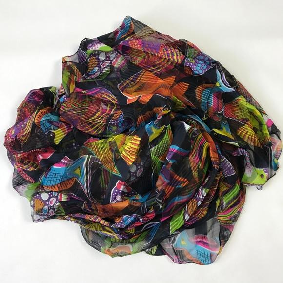 Peppermint Bay Rayon Scarf Tropical Colorful Fish 3692ea04ea71